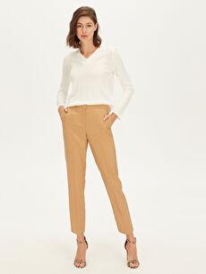 %85 Polyester %15 Poliamid Pantolon Düz Bilek Boy Standart Normal Bel Normal Bel Gabardin Pantolon