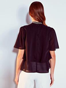 Kadın Yaka Detaylı Fırfırlı Krep Bluz