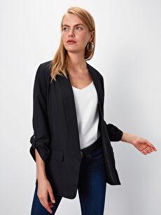 %97 Polyester %3 Elastan %100 Polyester Blazer Ceket Standart Basen Boy Uzun Kol Düz Blazer Ceket
