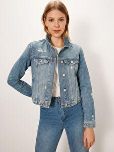 Sökük Detaylı Jean Ceket