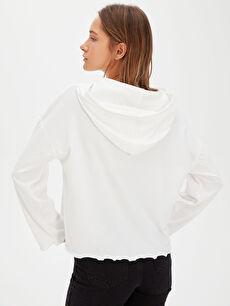 %88 Pamuk %12 Polyester Yazı Baskılı Kapüşonlu Sweatshirt