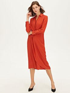 %15 Polyester %85 Viskon Düz A Kesim Midi Gömlek Yaka Dar Uzun Kol Elbise Keten Görünümlü Ofis/Klasik Kruvaze Bel Detaylı Dokulu Kumaştan Elbise