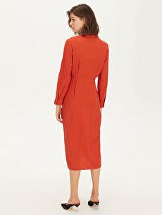 Kadın Kruvaze Bel Detaylı Dokulu Kumaştan Elbise