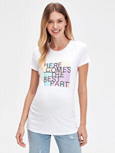 %96 Pamuk %4 Elastan Tişört Günlük Kısa Kol Düz Çıkarılabilir Kol Süprem Kısa Yazı Baskılı Pamuklu Hamile Tişört