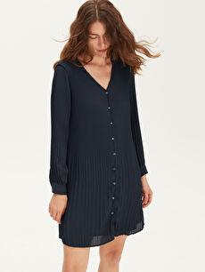Lacivert Pili Detaylı Şifon Elbise 9WM505Z8 LC Waikiki