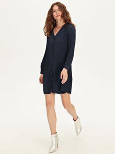 Kadın Pili Detaylı Şifon Elbise