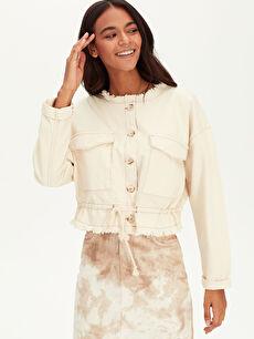 Kadın Saçaklı Jean Ceket