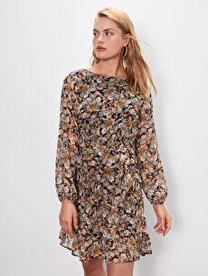%100 Polyester %100 Polyester Elbise Kısa Ofis/Klasik Dar Çiçekli Şifon V Yaka Uzun Kol A Kesim Kuşaklı Çiçek Desenli Şifon Elbise