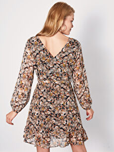 Kadın Kuşaklı Çiçek Desenli Şifon Elbise
