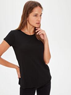 %48 Pamuk %52 Modal Standart Düz Kısa Kol Tişört Diğer Düz Basic Tişört