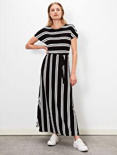 Siyah Çizgili Uzun Viskon Elbise 9WN698Z8 LC Waikiki