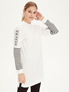 %96 Pamuk %4 Elastan Sweatshirt Mini Standart İnce Baskılı Tunik Süprem Baskılı Pamuklu Tunik