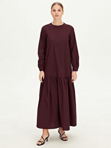 Fermuar Detaylı Uzun Elbise