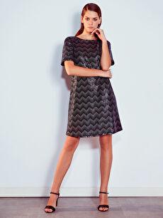 Desenli Işıltılı Elbise