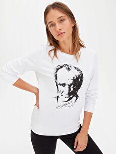 %100 Pamuk Bisiklet Yaka Günlük Standart İki İplik Sweatshirt Standart Atatürk Portresi Baskılı Pamuklu Sweatshirt