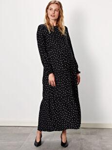 %100 Viskoz Elbise Puantiyeli Uzun Kol Hamile Elbise
