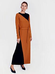 Renk Bloklu Kuşaklı Uzun Elbise