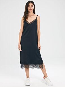 %100 Polyester Midi Düz Askılı Casual Dantel Detaylı Askılı Elbise