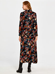 Kadın Çiçek Desenli Kuşaklı Viskon Elbise