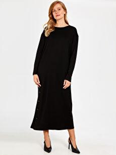 %26 Polyester %71 Viskoz %3 Elastan Uzun Kol Düz Ofis/Klasik Bol Astarsız Uzun Elbise Oversize Düğme Detaylı Düz Elbise