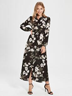 Siyah Sateen Çiçek Desenli Uzun Elbise 9WY556Z8 LC Waikiki