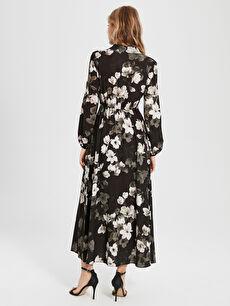 Kadın Sateen Çiçek Desenli Uzun Elbise