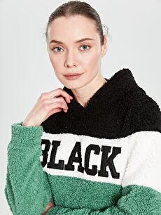 Sweatshirt Kaktüs Yazı İşlemeli Kapüşonlu Pelüş Sweatshirt