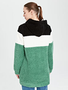 Kaktüs Yazı İşlemeli Kapüşonlu Pelüş Sweatshirt