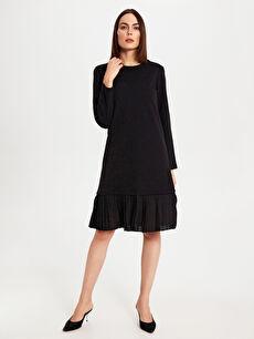 %71 Pamuk %22 Polyester %7 Elastan Mini Düz Uzun Kol Ofis/Klasik Pileli Esnek Elbise