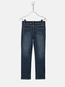 %79 Pamuk %18 Polyester %3 Elastan Dar Jean Düz Aksesuarsız Düz Paça Normal Bel Astarsız Kız Çocuk Slim Jean Pantolon