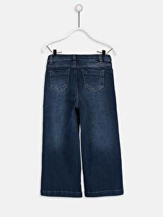 %99 Pamuk %1 Elastan Normal Bel Bol Kız Çocuk İspanyol Paça Jean Pantolon