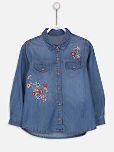 İndigo Kız Çocuk Nakışlı Jean Gömlek 9W4176Z4 LC Waikiki