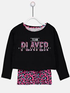 Siyah Kız Çocuk Pamuklu Tişört ve Atlet 9W5261Z4 LC Waikiki