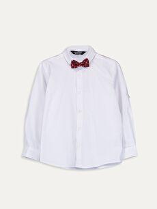 Beyaz Erkek Çocuk Armürlü Gömlek ve Papyon 9W5609Z4 LC Waikiki