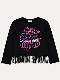 Siyah Kız Çocuk Baskılı Pamuklu Tişört 9W8929Z4 LC Waikiki