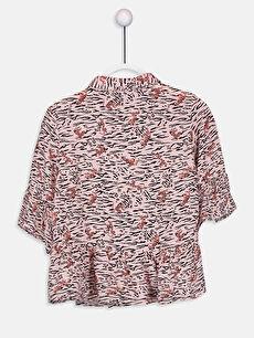 %100 Viskoz Aksesuarsız Gömlek Gömlek Yaka Baskılı Kız Çocuk Desenli Viskon Gömlek