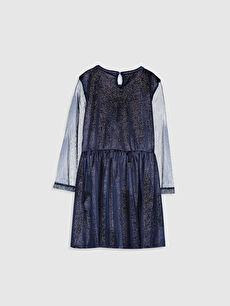 %91 Polyester %9 Elastan Midi Düz Kız Çocuk Işıltılı Kadife Elbise
