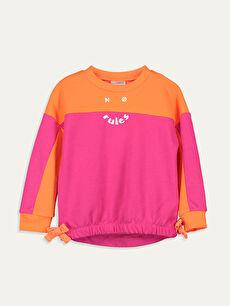 Fuşya Kız Çocuk Yazı Baskılı Sweatshirt 9WH450Z4 LC Waikiki