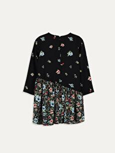 %100 Viskoz Mini Baskılı Kız Çocuk Çiçekli Viskon Elbise