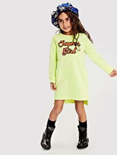 %50 Pamuk %50 Polyester Kız Çocuk Sweatshirt Elbise