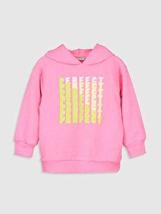 Pembe Kız Çocuk Baskılı Kapüşonlu Sweatshirt 9WI560Z4 LC Waikiki