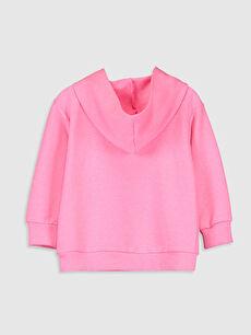 %43 Pamuk %57 Polyester Kapüşon Yaka Kapüşonlu Düz Üç İplik Sweatshirt Kız Çocuk Baskılı Kapüşonlu Sweatshirt
