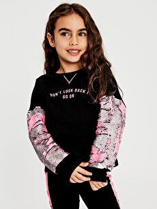Siyah Kız Çocuk Çift Yönlü Payetli Sweatshirt 9WI572Z4 LC Waikiki