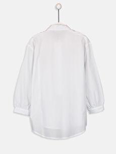 %100 Pamuk Aksesuarsız Standart Gömlek Yaka Poplin Baskılı Bluz Uzun Kol Kız Çocuk Nakışlı Poplin Bluz