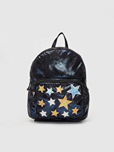 Siyah Kız Çocuk Yıldız Aplikeli Parlak Sırt Çantası 9WK321Z4 LC Waikiki
