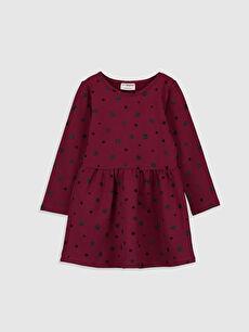 Bordo Kız Çocuk Baskılı Pamuklu Elbise 9WK858Z4 LC Waikiki