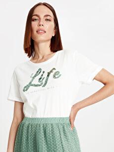 Kadın Pul İşlemeli Pamuklu Tişört