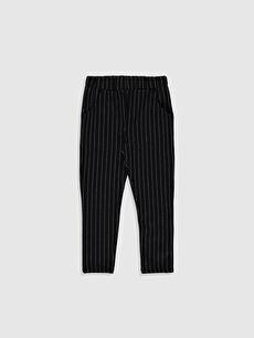 Siyah Kız Çocuk Çizgili Örme Pantolon 9WQ230Z4 LC Waikiki