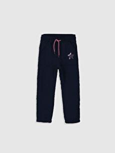 Lacivert Kız Çocuk Pul İşlemeli Pantolon 9WY915Z4 LC Waikiki
