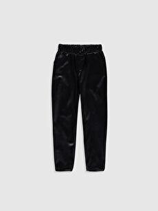 %100 Polyester Standart Standart Normal Bel Eşofman Altı Düz Kız Çocuk Deri Görünümlü Pantolon